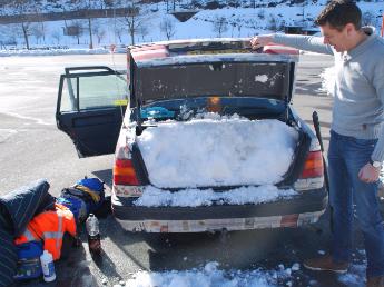 Auto sneeuw carbage run